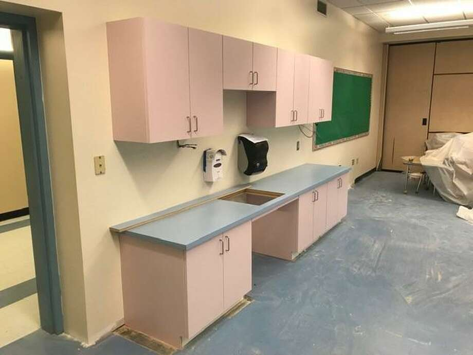 Flooring has been installed in the art room and cabinets have been delivered and installed in some second floor classrooms at Cos Cob School as of Nov. 28. Photo: Contributed Photo / Greenwich Public Schools /