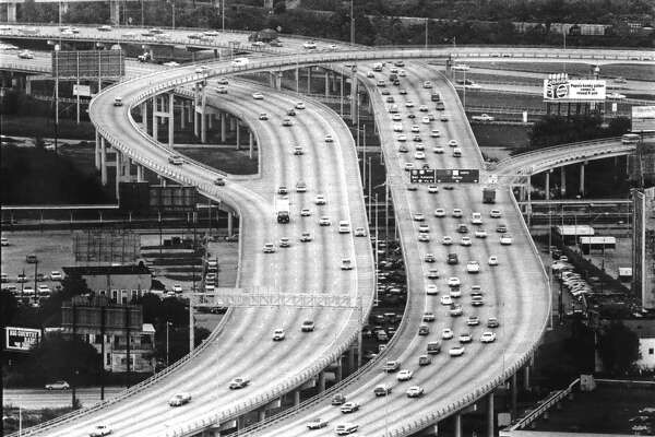North Freeway at I-10 looking north, March 1978.
