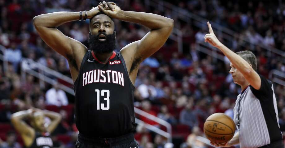 Houston Rockets guard James Harden (13) reacts after he was called for a fould during the second half of an NBA basketball game against the Dallas Mavericks at Toyota Center on Wednesday, Nov. 28, 2018, in Houston. Photo: Brett Coomer/Staff Photographer