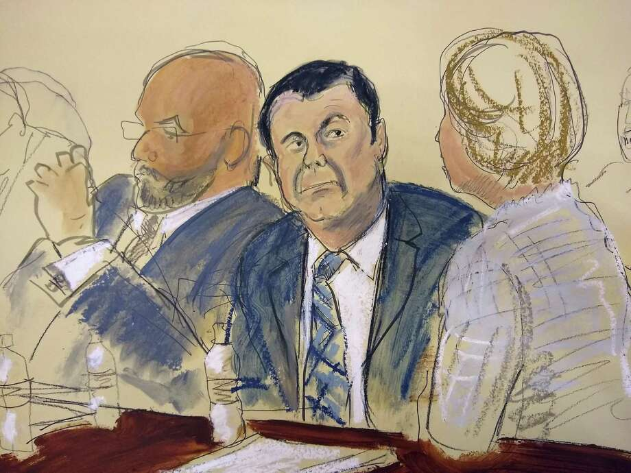 "CORRECTS LAST OF ATTORNEY TO BALAREZO FROM BALAZERO - In this courtroom sketch Joaquin ""El Chapo"" Guzman, center, sits next to his defense attorney Eduardo Balarezo, left, for opening statements as Guzman's high-security trial gets underway in the Brooklyn borough of New York, Tuesday, Nov. 13, 2018. Guzman pleaded not guilty to charges that he amassed a multi-billion-dollar fortune smuggling tons of cocaine and other drugs in a vast supply chain that reached New York, New Jersey, Texas and elsewhere north of the border. The infamous Mexican drug lord has been held in solitary confinement since his extradition to the United States early last year. (Elizabeth Williams via AP) Photo: Elizabeth Williams, UGCR / Associated Press / Elizabeth Williams"