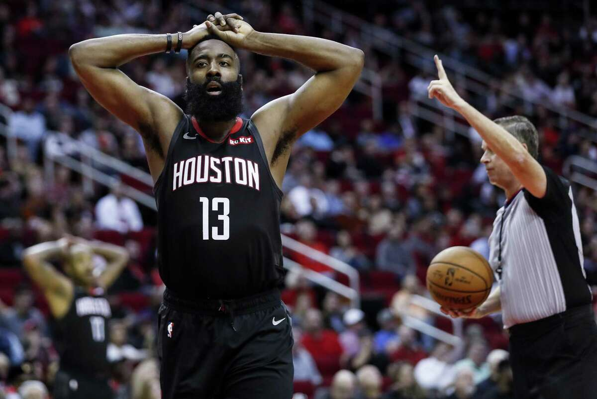 Houston Rockets guard James Harden (13) reacts after he was called for a fould during the second half of an NBA basketball game against the Dallas Mavericks at Toyota Center on Wednesday, Nov. 28, 2018, in Houston.
