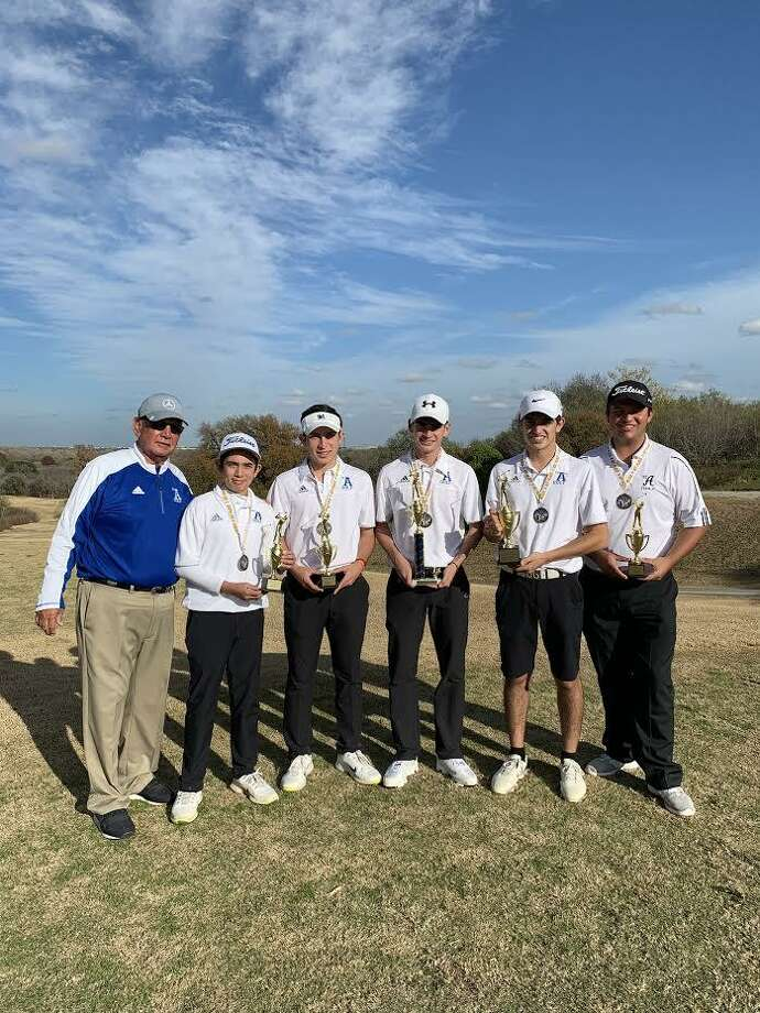 The St. Augustine boys' golf team shot a 308 on its way to claim first place at the Holy Cross Knights Invitational held at Lackland Air Force Base. The Knights swept the top four individual places as well. Horacio Perez shot a 72 even par for first place. Marcelo Garza (76), Paul Young (80) and Rolando Alfaro (80) followed. Susan De La Parra captured first overall in the girls' individual division with a 95. Photo: Courtesy Of St. Augustine Athletics