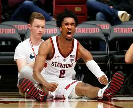 Stanford's Bryce Wills celebrates one of his baskets in 2nd half of the Cardinal's 79-67 win over Portland State in NCAA men's basketball game at Maples Pavilion in Stanford, Calif. on Wednesday, November 28, 2018.