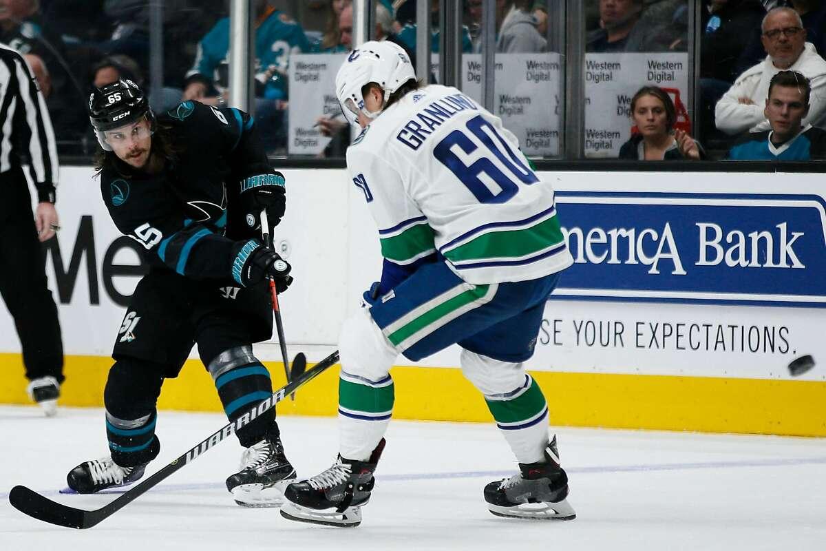 San Jose Sharks defenseman Erik Karlsson (65) in an NHL game against the Vancouver Canucks at SAP Center on Friday, Nov. 23, 2018, in San Jose, Calif.