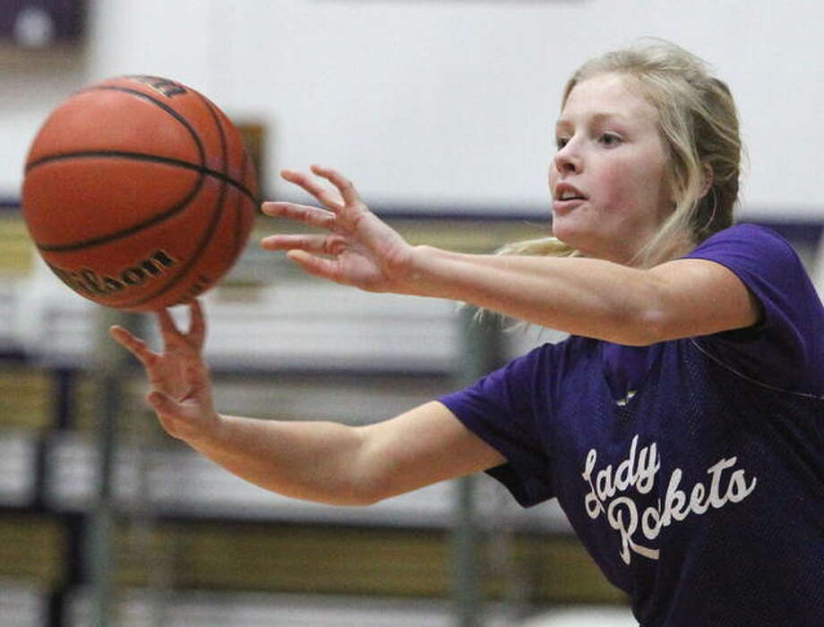 Routt's Lacey Schierl passes the ball during practice Wednesday. Photo: Dennis Mathes | Journal-Courier