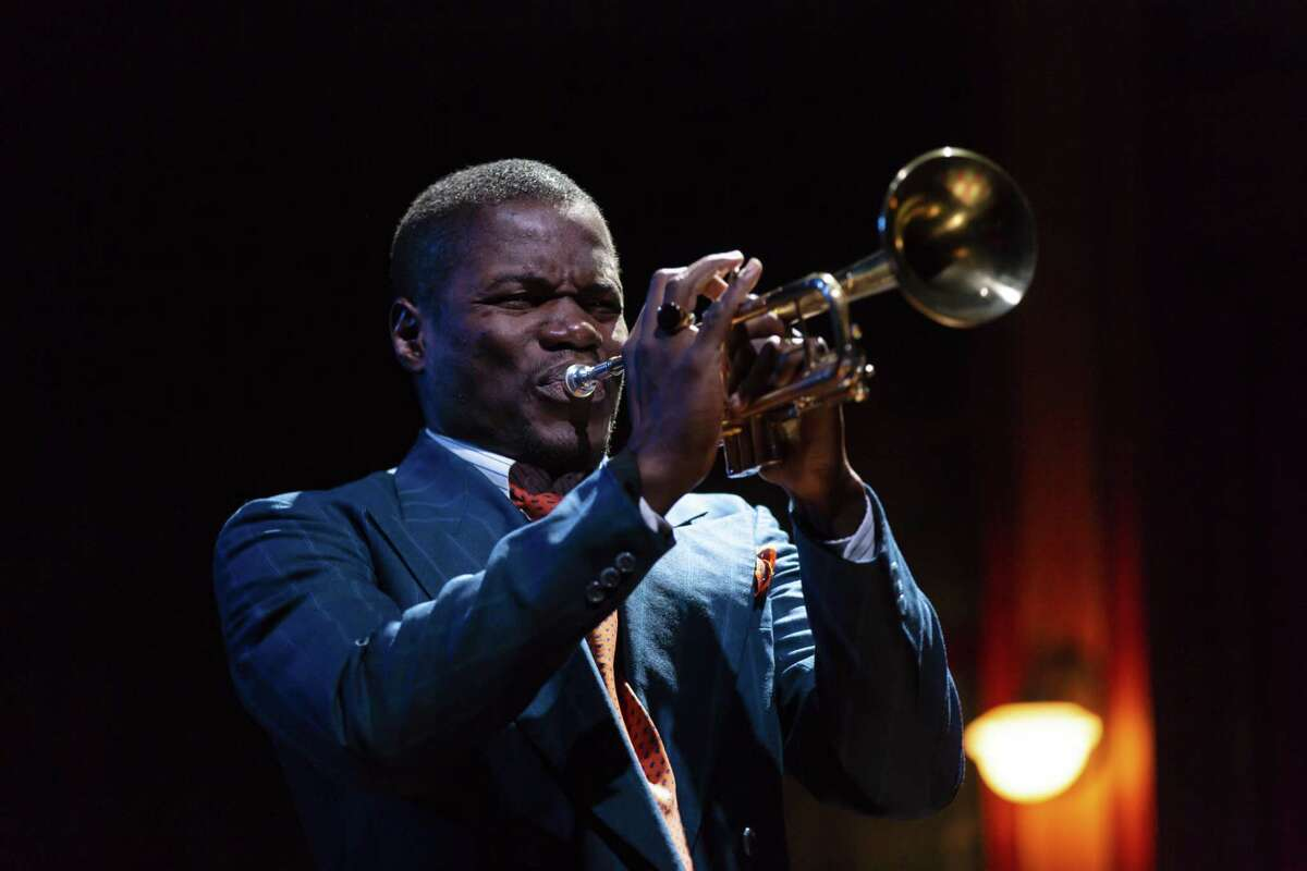 Stephen Tyrone Williams plays his horn.