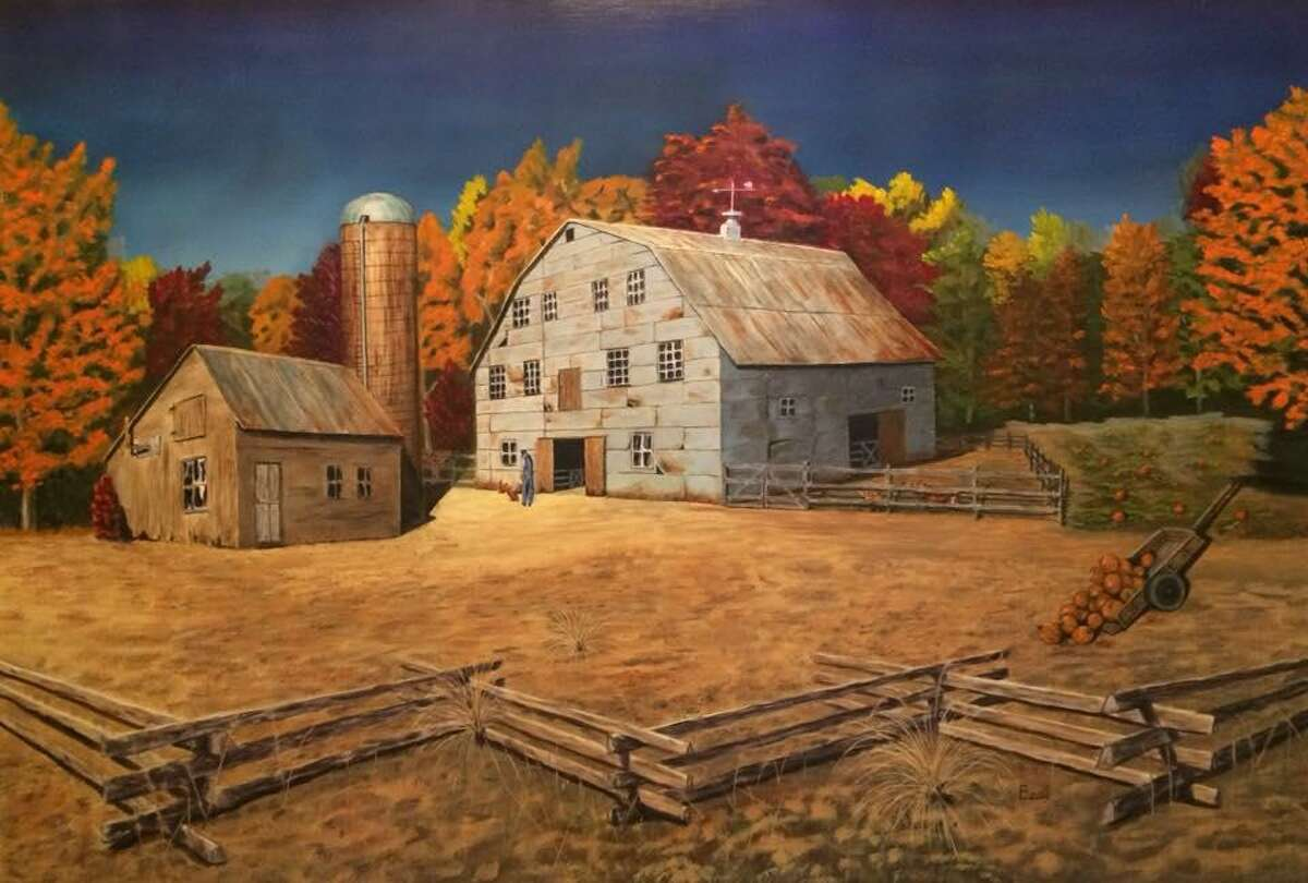 """An oil and acrylic painting titled """"Autumn on the Farm,"""" by Beau Crump, who is one of the five artists inthe newly-formed """"Houston Area Oil Painters of America"""" group."""