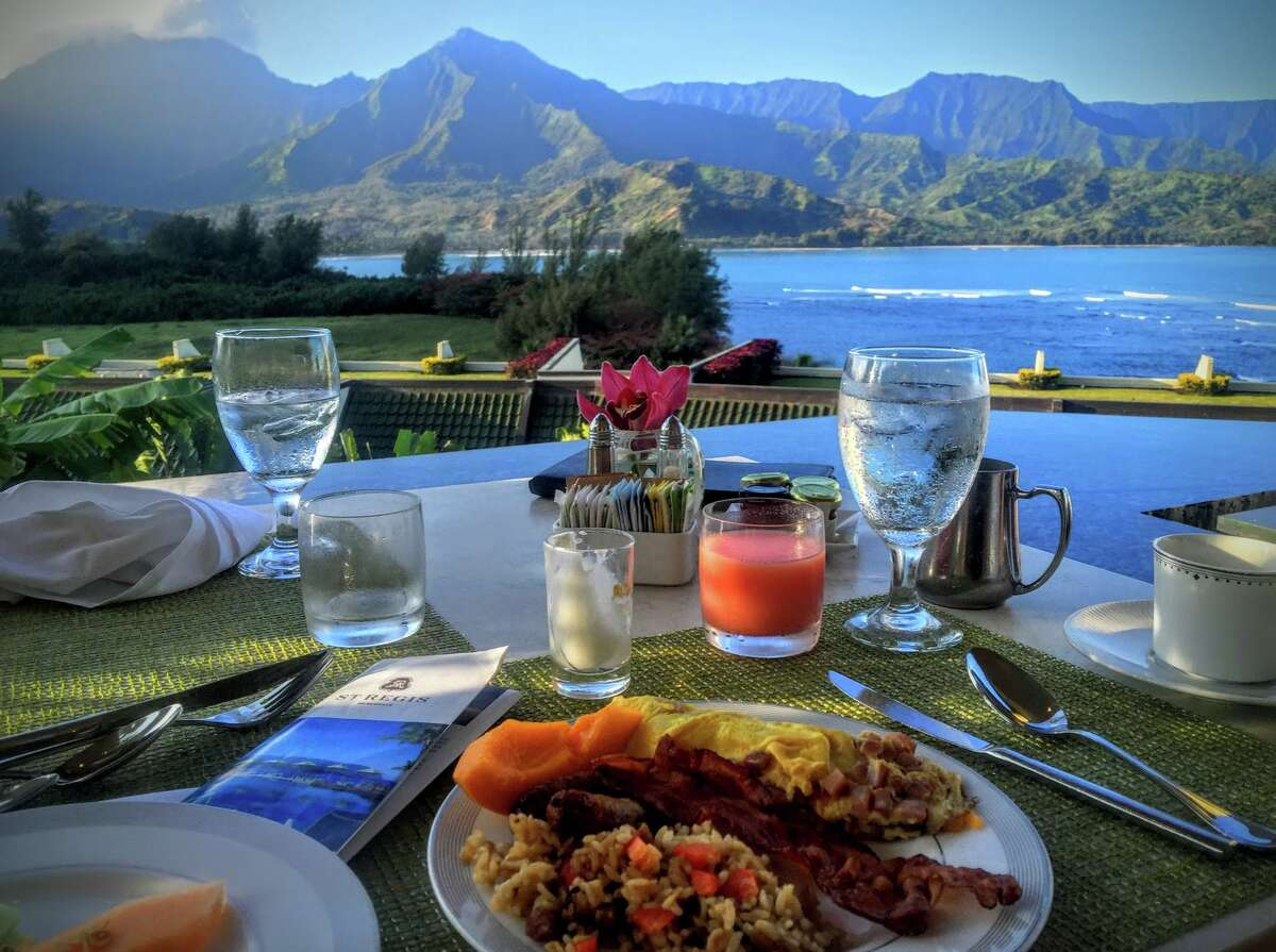 Gorgeous breakfast overlooking Hanalei Bay at the former St Regis Princeville, soon to be the 1 Hotels flagship