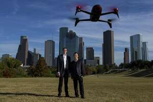 Wilson Pulling (left) and Yang Hu, co-founders of Aatonomy, which creates software to make drones smarter, recently moved their business to Houston. Photographed at Eleanor Tinsley Park in Houston, Tuesday, Nov. 27, 2018.