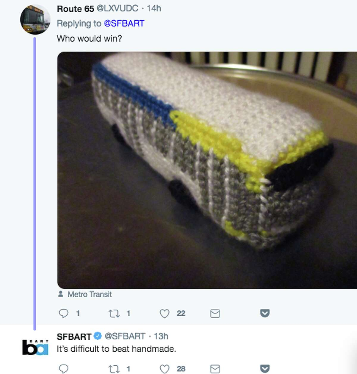 BART announced on Twitter that it is now selling a BART car toy at its Lake Merritt station and responded to readers' questions.