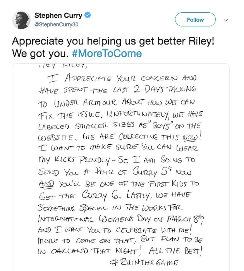 Stephen Curry responded to Napa fan Riley Morrison's letter asking for more girls' sizes in his signature shoes. Photo: Screenshot Via Stephen Curry Twitter