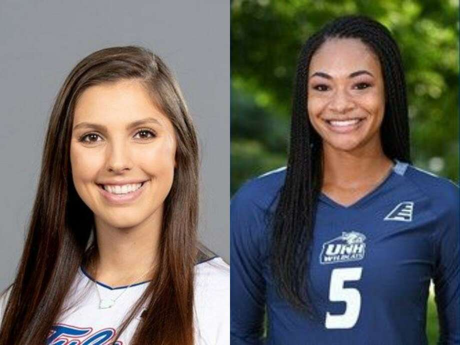Former College Park volleyball players Emily Thorson (Tulsa), left, and Kennedi Smith (UNH), right. Photo: Photos Provided