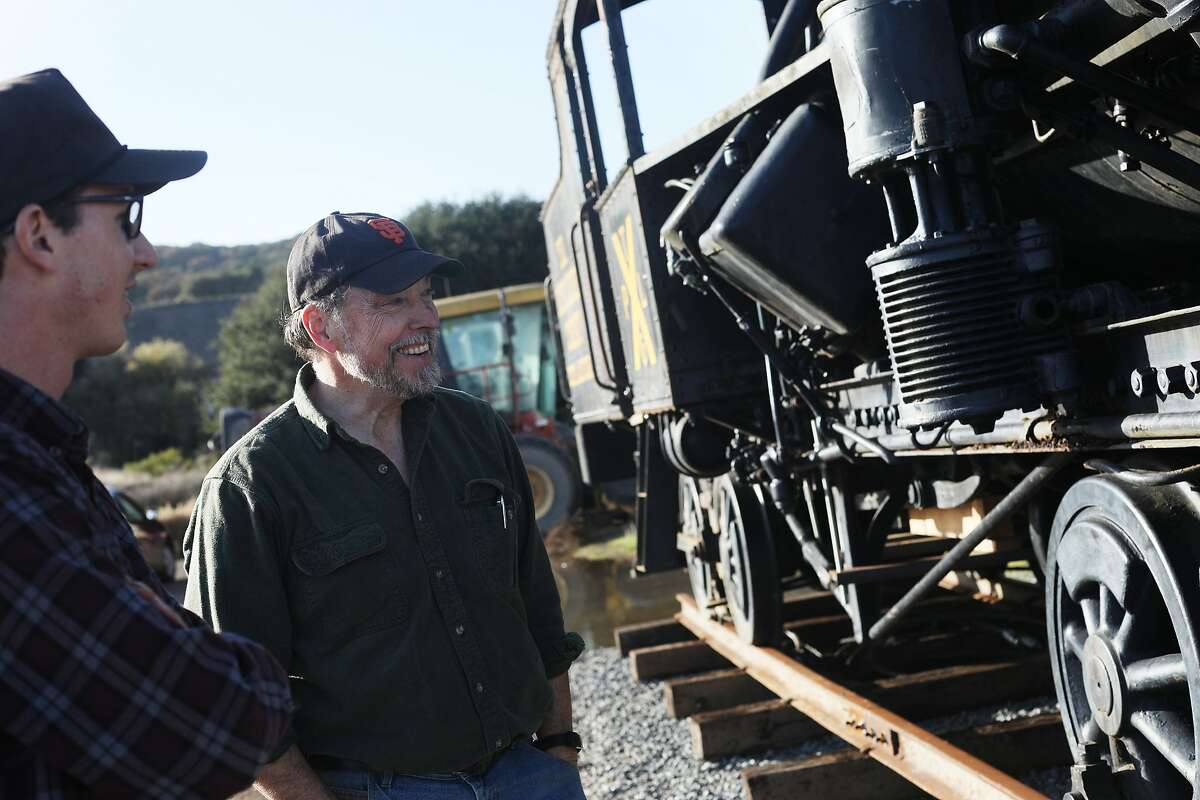 David Waterman (l to r), engineer and mechanic Friends of No 9, and Fred Runner, manager Friends of No 9, talk as they stand alongside Engine Number 9, the last survivor of the Mt. Tamalpais and Muir Woods railway, on Wednesday, November 28, 2018 in Sonoma County.