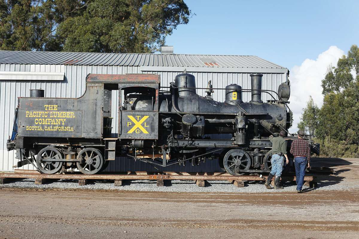 Fred Runner (l to r), manager Friends of No 9, and David Waterman, engineer and mechanic Friends of No 9, talk as they stand alongside Engine Number 9, the last survivor of the Mt. Tamalpais and Muir Woods railway, on Wednesday, November 28, 2018 in Sonoma County.
