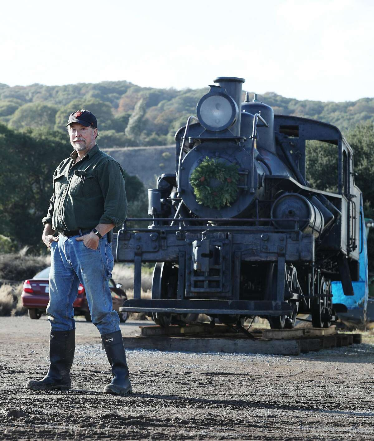 Fred Runner, manager of Friends of No. 9, stands for a portrait next to Engine No. 9, the last survivor of the Mt. Tamalpais and Muir Woods railway, on Wednesday, November 28, 2018 in Sonoma County.