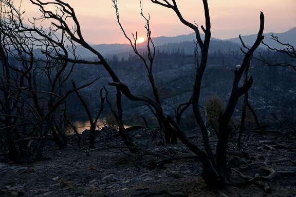 A charred landscape near Keswick Dam Rd. in the aftermath of the Carr Fire in Redding on Monday, Aug. 27, 2018.