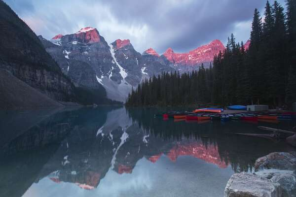 BANFF (CANADA), July 20, 2018 -- Photo taken on July 20, 2018 shows sunrise at the Moraine Lake in Banff National Park, Canada Rockies, Canada. Located in British Columbia and Alberta, Canadian Rockies are the Canadian parts of the Rocky Mountains, including Banff National Park, Jasper National Park, Yoho National Park and Kootenay National Park, which draws hundreds of thousands of visitors around the world every year. (Xinhua/Zou Zheng) (Xinhua/Zou Zheng via Getty Images)