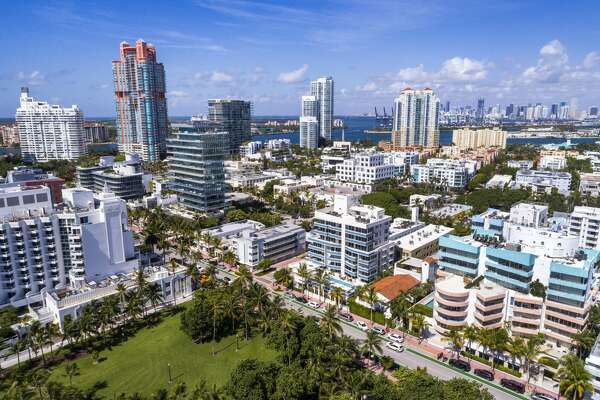 Florida, Miami Beach, aerial of Skyline and condominiums. (Photo by: Jeffrey Greenberg/UIG via Getty Images)