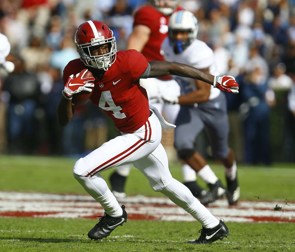 Alabama wide receiver Jerry Jeudy (4) catches a pass against Citadel during the first half of an NCAA college football game, Saturday, Nov. 17, 2018, in Tuscaloosa, Ala. (AP Photo/Butch Dill)