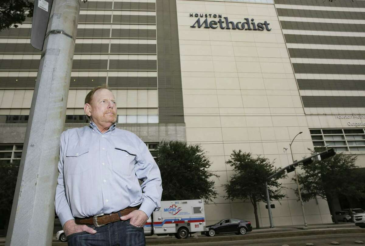 """Godfrey """"G.W."""" Biscamp at the Houston Medical Center on Thursday, Nov. 29, 2018. Biscamp waited two years at Houston Methodist to get a lung transplant and then was denied. He later got a lung transplant more than a year ago from Baylor St. Luke's."""