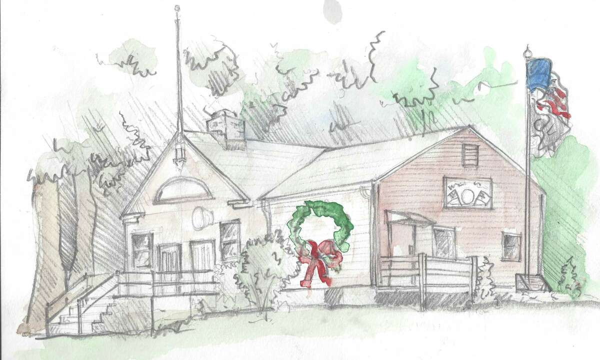 A sketch of American Legion Post 143 on Stratfield Road by Will Jameson.