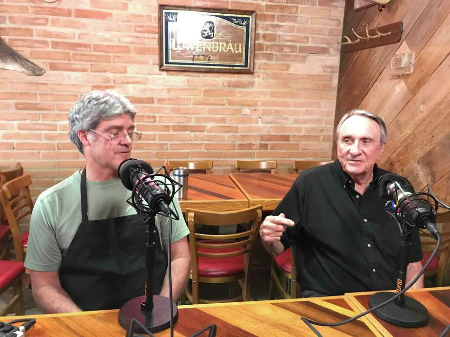 Kurt Craig, left, and David Craig of Luling City Market on the Barbecue State of Mind podcast at the longtime barbecue restaurant on Richmond. Photo: Greg Morago