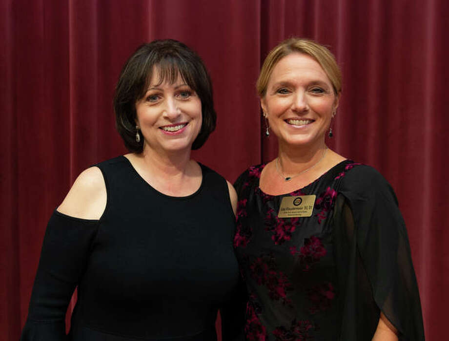 SIUE School of Nursing Dean Laura Bernaix, left, and Lisa Klaustermeier at the 2018 Alumni Hall of Fame ceremony. Photo: For The Intelligencer