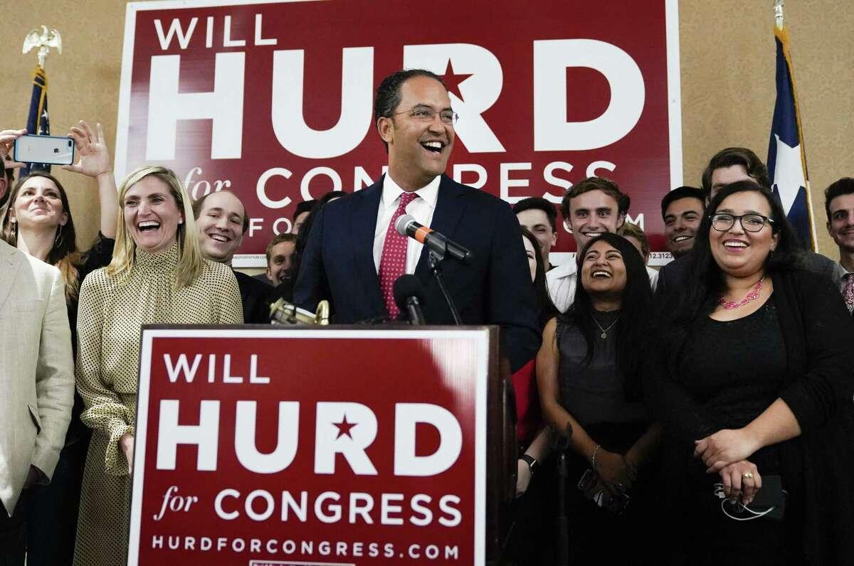 Incumbent Rep. Will Hurd, R-Texas, speaks during his election night victory party, Tuesday, Nov. 6, 2018, in San Antonio. Hurd defeated Democratic challenger Gina Ortiz Jones. (AP Photo/Darren Abate)