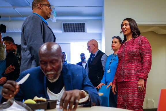 Mayor London Breed takes a tour of the Bayshore Navigation Center in San Francisco, California, on Wednesday, Nov. 7, 2018.