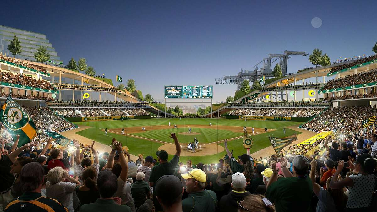 View from behind home plate of proposed new Oakland's A's ballpark at Howard Terminal, which features a publicly accessible rooftop park.