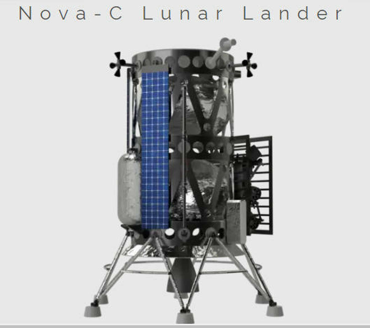 This is a rendering of Houston-based Intuitive Machines' moon lander, known as Nova-C. The company was one of nine chosen by NASA to build a lander that could carry science experiments and instruments to the lunar surface.