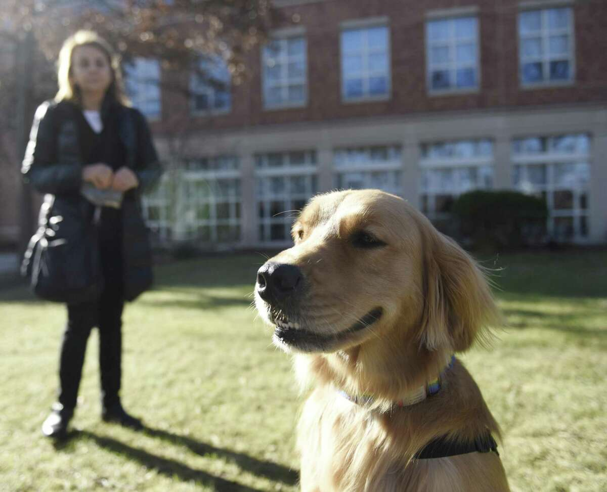 Service dog Spirit strikes a pose beside Joanne K. Singleton, PhD, RN, a developer of PACE University's Educated Canines Assisting with Disabilities course, after the