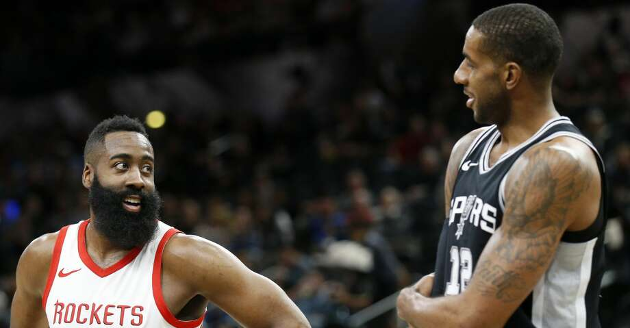 PHOTOS: Rockets game-by-game Houston Rockets'• James Harden and San Antonio Spurs' LaMarcus Aldridge talk during first half action Thursday Feb. 1, 2018 at the AT&T Center. Browse through the photos to see how the Rockets have fared in each game this season. Photo: Edward A. Ornelas/San Antonio Express-News