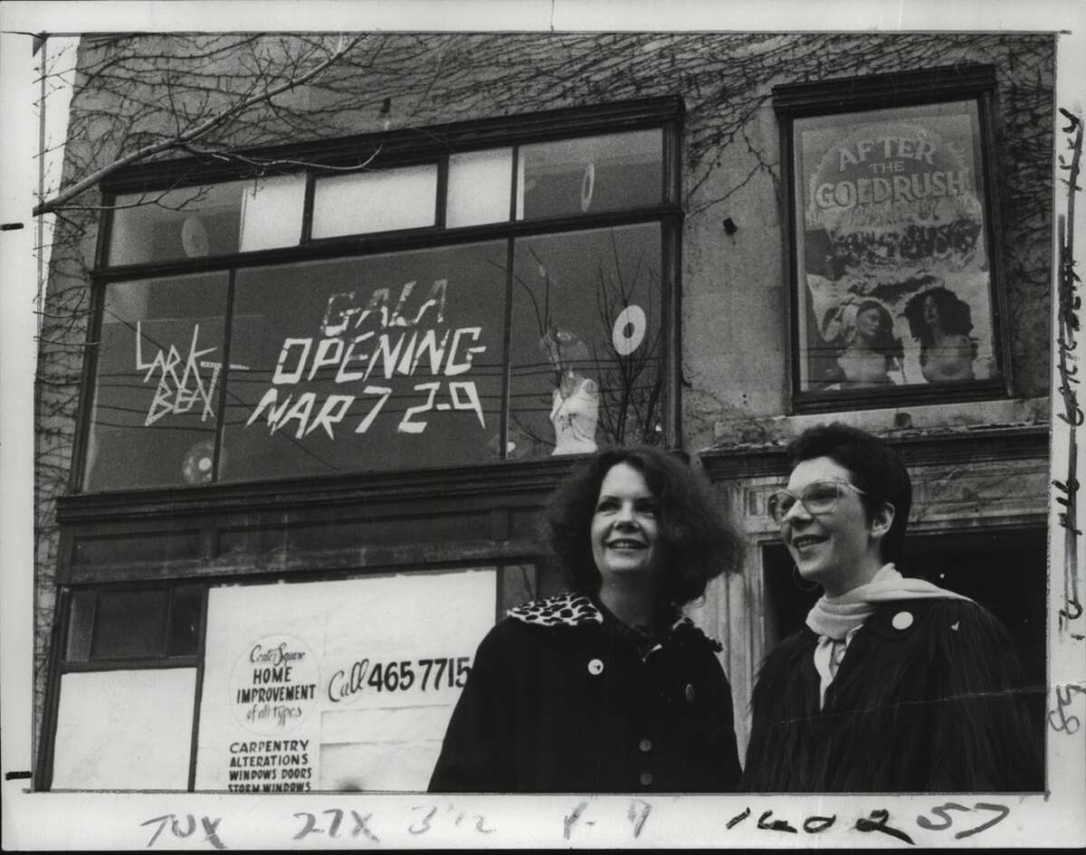Mary Miller and Dana Rudolph in March of 1981, in front of the space sharing their two Lark Street businesses: Miller's Lark Beat Records and Rudolph's After the Gold Rush. (Bob Richey/Times Union Archive)