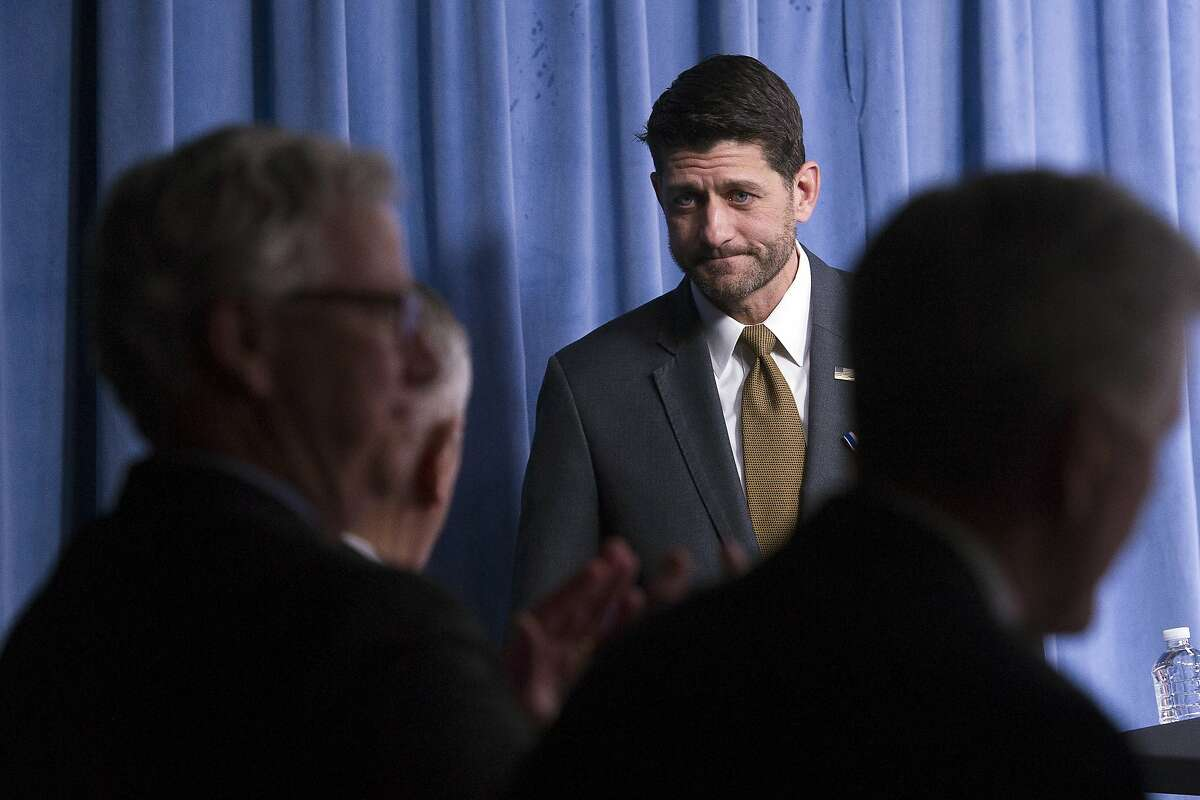 Speaker of the House Paul Ryan, of Wis., leaves the podium after Secretary of Defense Jim Mattis awarded him with the Department of Defense Medal for Distinguished Public Service at the Pentagon, in Washington, Wednesday, Nov. 28, 2018. (AP Photo/Cliff Owen)