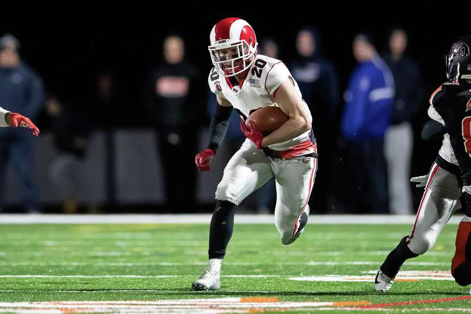 New Canaan's Quintin O'Connell had 14 receptions for 172 yards and three touchdowns, and set three new program marks, surpassing the legendary Pete Demmerle in two categories, and current defensive coordinator Chris Silvestri in another against Shelton in the Class LL quarterfinals on Tuesday. Photo: John McCreary / For Hearst Connecticut Media / Connecticut Post Freelance
