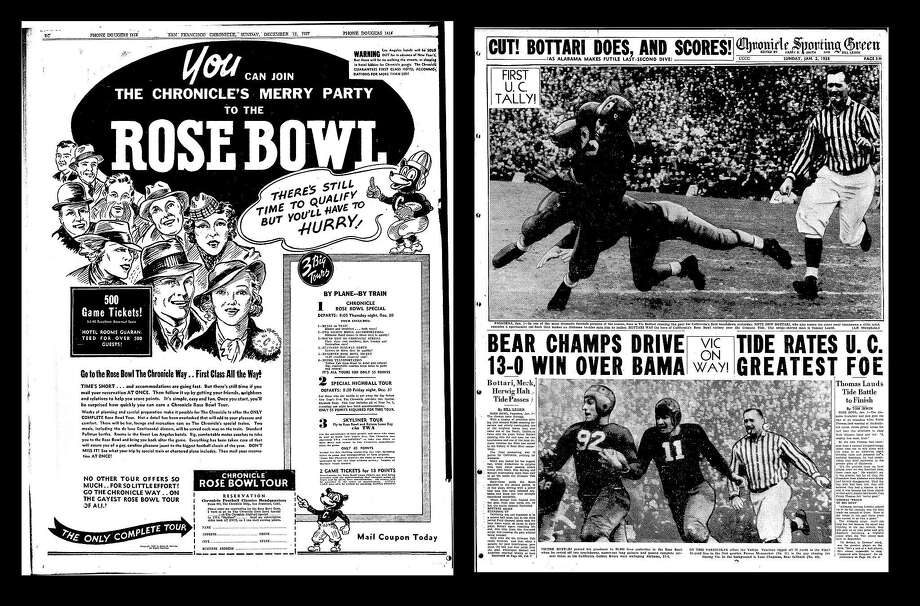 Chronicle pages for the 1938 Rose Bowl. Photo: The Chronicle 1938