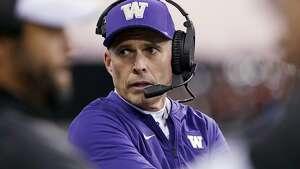 Washington head coach Chris Petersen looks on during an NCAA college football game against Oregon State Saturday, Nov. 17, 2018, in Seattle. (AP Photo/Elaine Thompson)