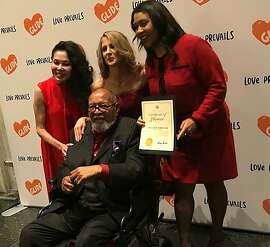 Janice Mirikitani, Karen Hanrahan, London Breed and Cecil Williams at Glide Holiday Jam, 2018
