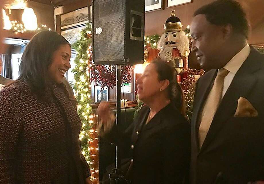 Mayor London Breed,  Lt. Gov.-elect Eleni Kounalakis and John Burris at John's Grill Photo: Leah Garchik / The Chronicle