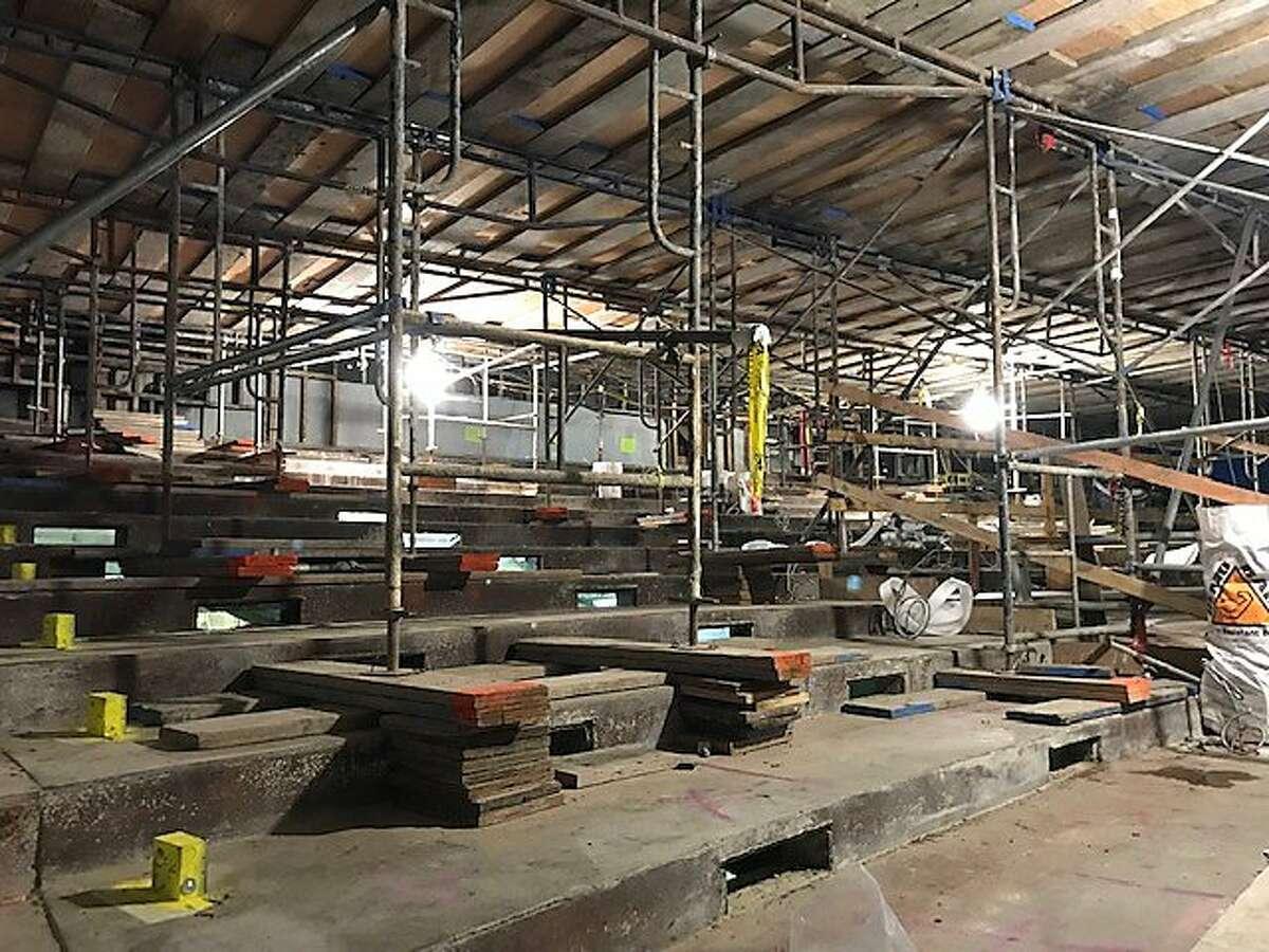 Raked floor is readied for the Presidio Theatre
