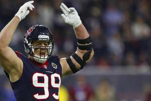 Houston Texans defensive end J.J. Watt (99) reacts during the first quarter of an NFL football game at NRG Stadium on Monday, Nov. 26, 2018, in Houston.