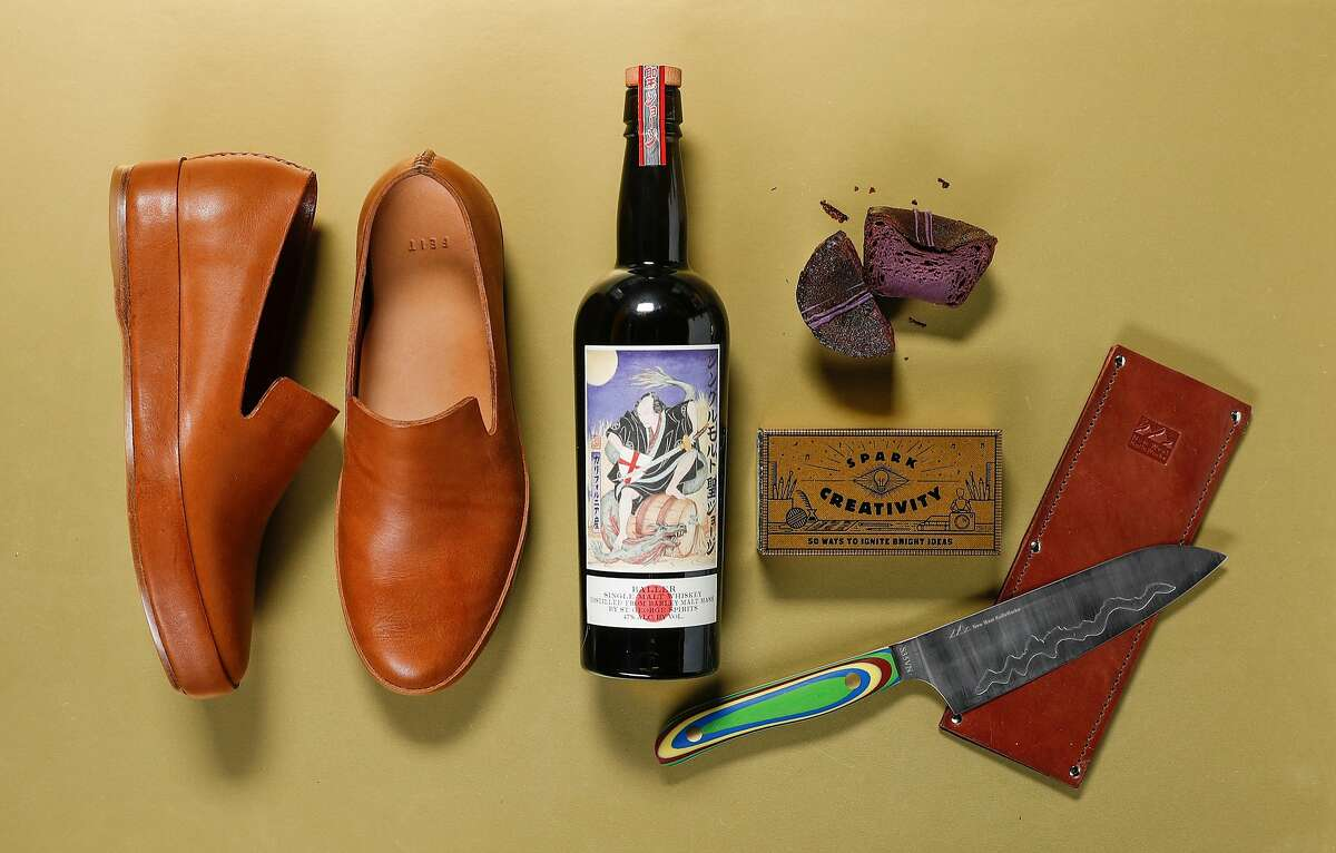 """Feit slippers, St. George's Baller whiskey, a """"Spark Creativity"""" kit and New West Knifeworks knife are among 2018's gifts for the holidays, een on Wednesday, Nov. 14, 2018 in San Francisco, Calif."""