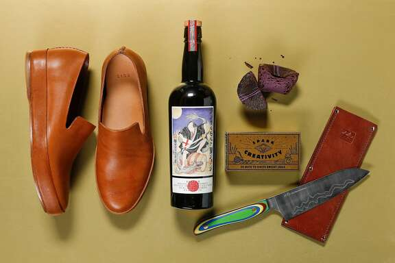 "Feit slippers, St. George's Baller whiskey, a ""Spark Creativity"" kit and New West Knifeworks knife are among 2018's gifts for the holidays, een on Wednesday, Nov. 14, 2018 in San Francisco, Calif."