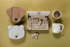Leather animal backpacks for little ones, a leather domino set and mugs by Luvhaus are among 2018's gifts for the holidays, seen on Wednesday, Nov. 14, 2018 in San Francisco, Calif.