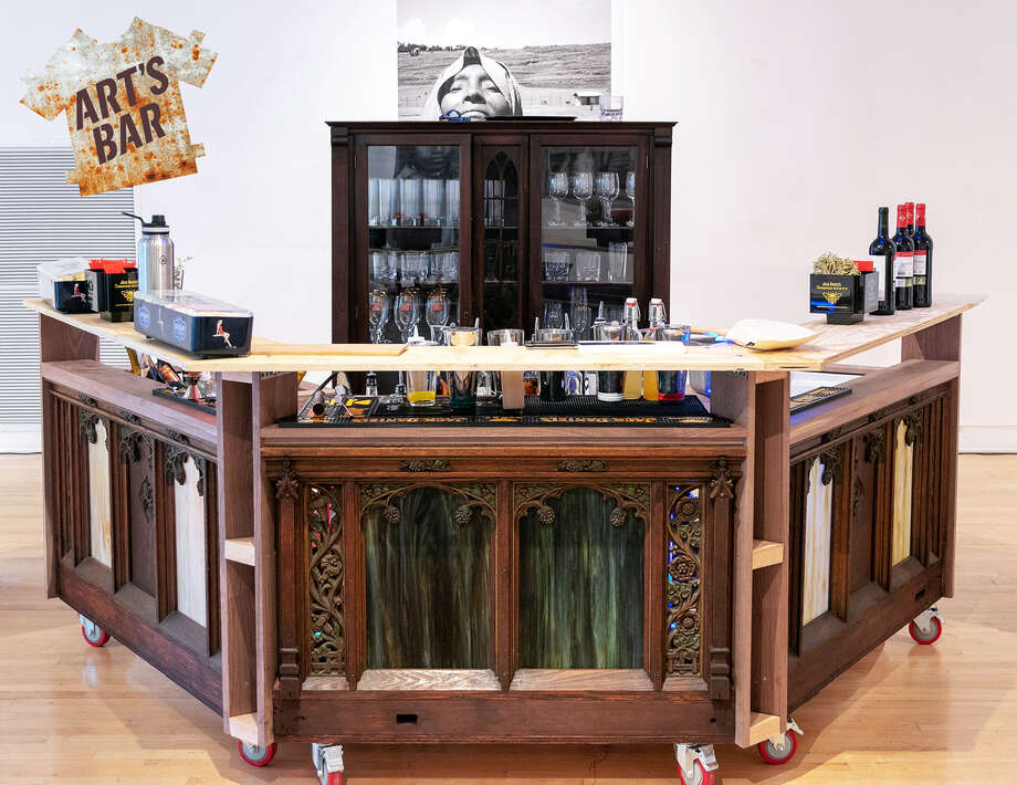 The bar for Art's Bar at the Arts Center of the Capital Region can be set up and broken down in a gallery in less than an hour. (ACCR photo.) Photo: Arts Center Of The Capital Region