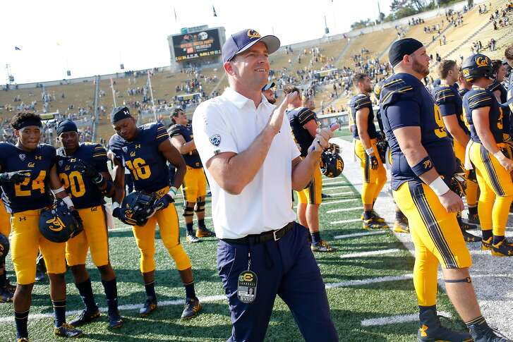 California Golden Bears head coach Justin Wilcox following an NCAA football game against the North Carolina Tar Heels at Memorial Stadium, Saturday, Sept. 1, 2018, in Berkeley, Calif. The Bears won 24-17.