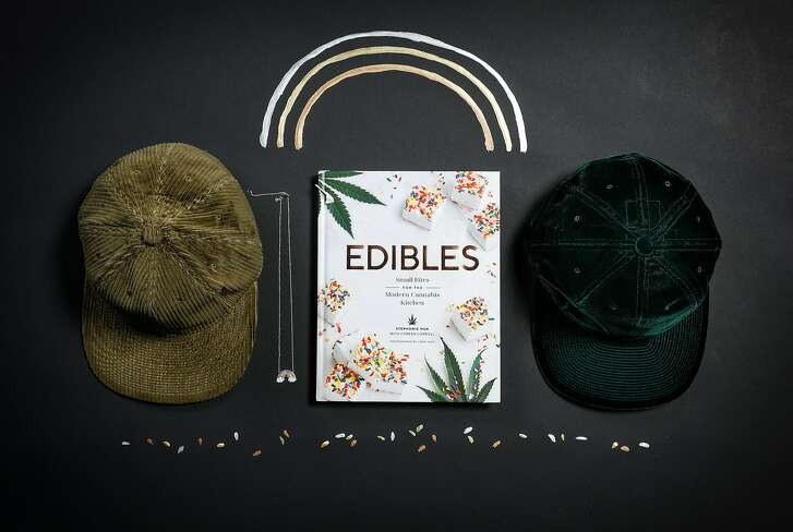 """Poten Japanese baseball caps, a Sydney Evan rainbow necklace and """"Edibles"""" are among 2018's gifts for the holidays, seen on Wednesday, Nov. 14, 2018 in San Francisco, Calif."""