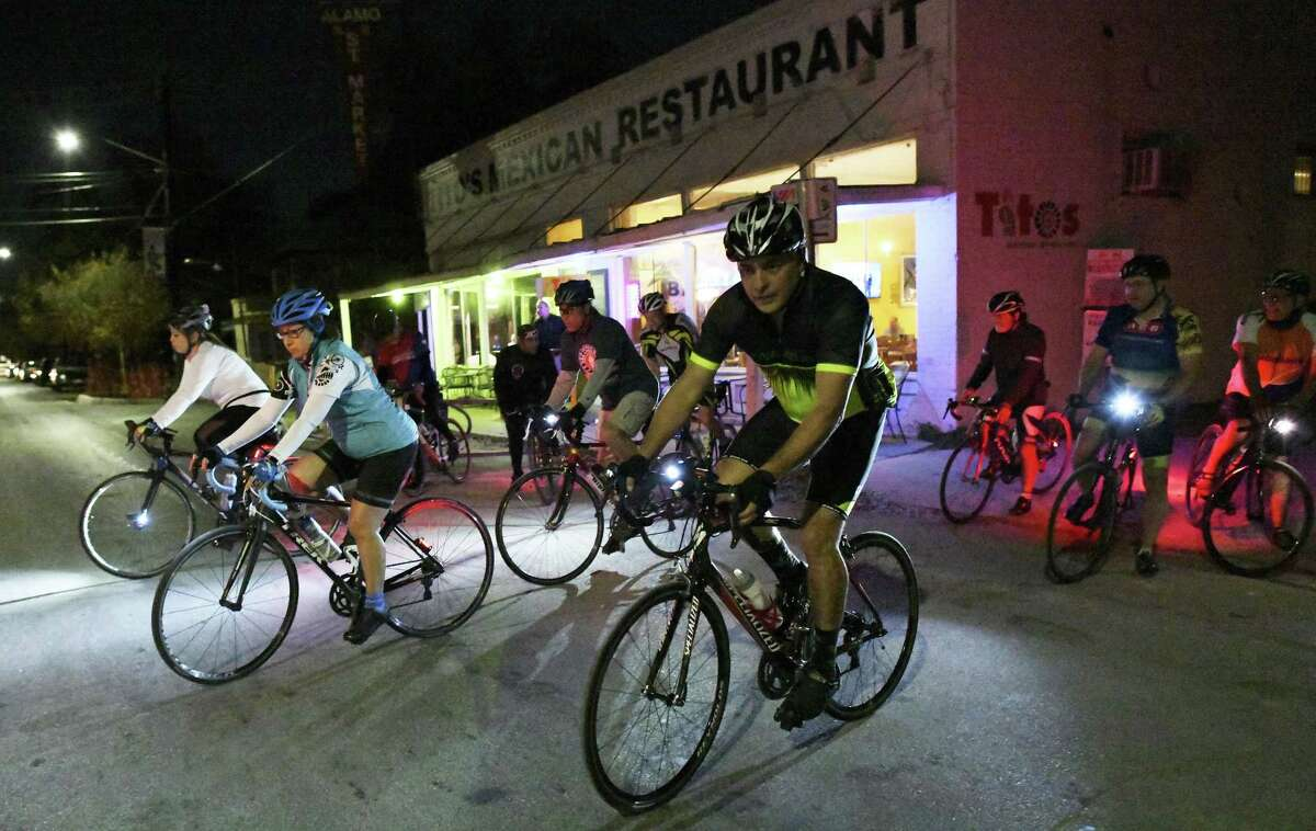Members of the the San Antonio Gear Shifters bike group leave Tito's Mexican Restaurant on South Alamo Street on Thursday, Nov. 29, 2018. They have group rides twice a week.