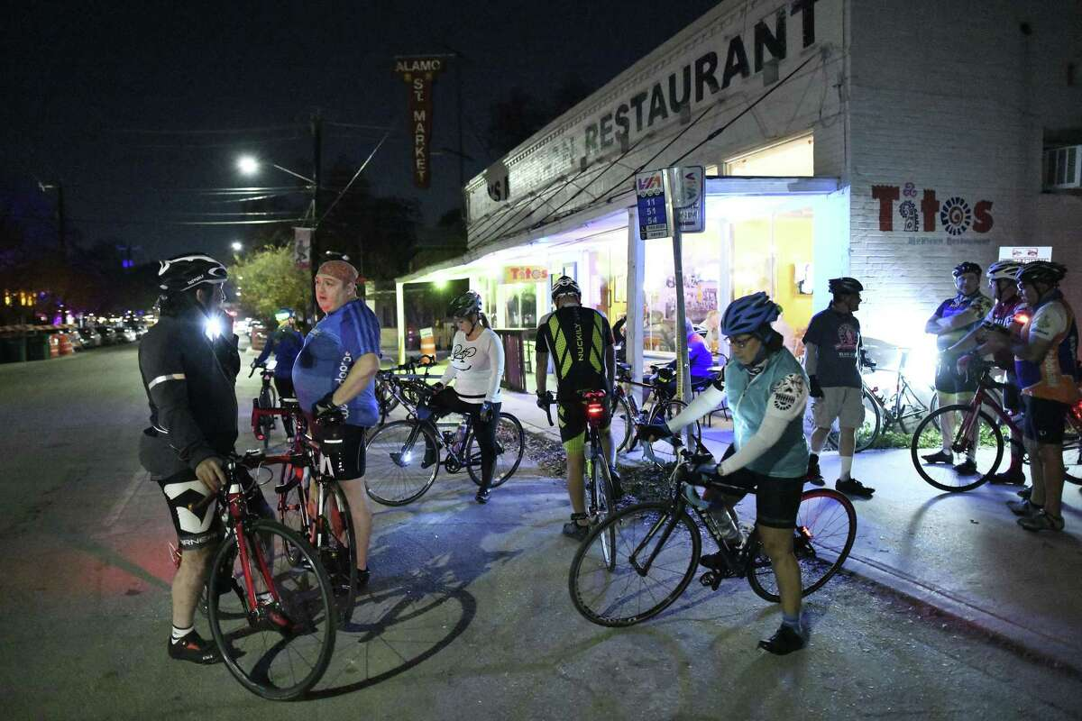 Members of the the San Antonio Gear Shifters bike group gather at Tito's Mexican Restaurant on South Alamo Street on Thursday, Nov. 29, 2018. They have group rides twice a week.